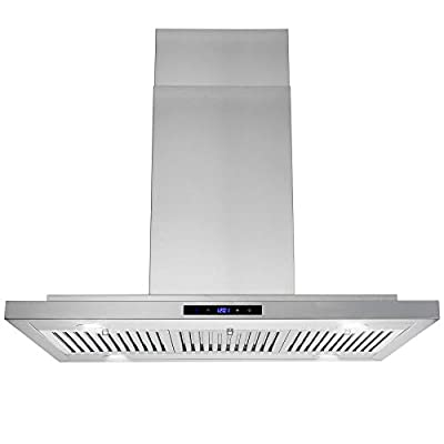 "AKDY 36"" Convertible Island Mount Range Hood with LED Lights in Stainless Steel"