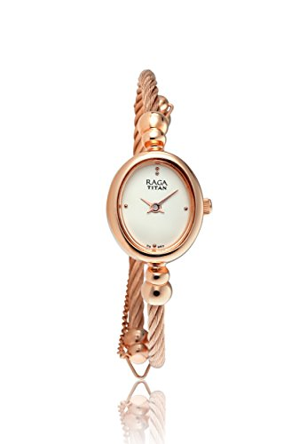 Titan Raga Gold Metal Jewellery Bangle Design, Bracelet Clasp, Quartz Glass, Water Resistant Analog Wrist Watch (Watch Bracelet Quartz Bangle)