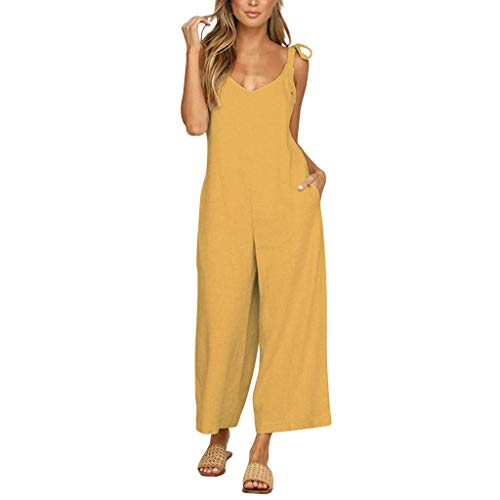 - GWshop Ladies Fashion Elegant Jumpsuit Women Jumpsuit Holiday Wide Leg Playsuit Ladies Summer Beach Rompers Yellow M