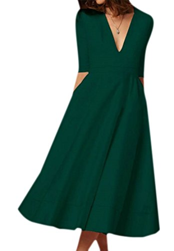 Cromoncent Femmes Élégante Profonde Col V 1/2 Manches Swing Fermeture Éclair Vert Robe Plissée Midi