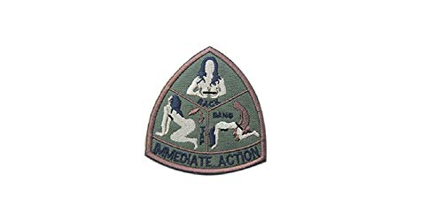 Mil-Spec Monkey IMMEDIATE ACTION morale patch hook backing Army Green tap rack ()