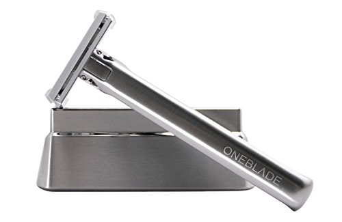 OneBlade GENESIS Award-Winning Stainless Steel, Pivoting Head, Safety Razor with Razor Stand & Leather Case plus 10 Feather Blades