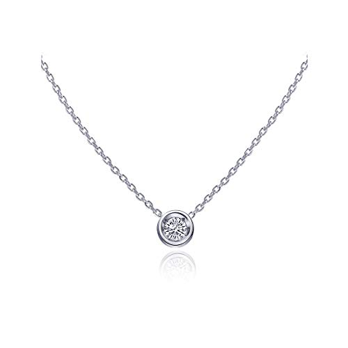 S.Leaf Cubic Zirconia Necklace Solitaire Pendant Sterling Silver Necklace for Women (white gold)