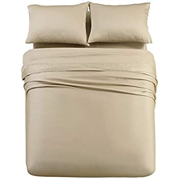 Abripedic Solid 600-Thread-Count, 100-Percent Tencel Lyocell, California King Size, 4PC Bed Sheets Set, Taupe