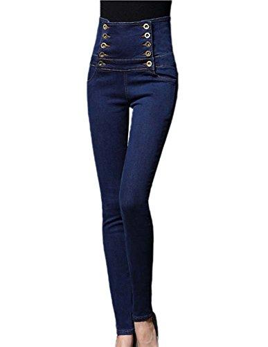 Jeans crayon pour femme, Jeans femme Denim Pants Stretch Regular Fit Jeans Bleu Fonc (Double Range de Pantalons)
