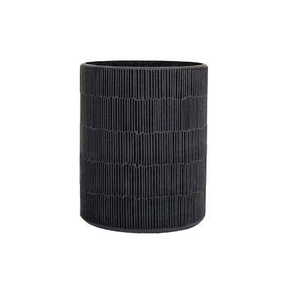4x5 Inch Black Matchstick Mosaic Glass And Cement Candle Holder ()