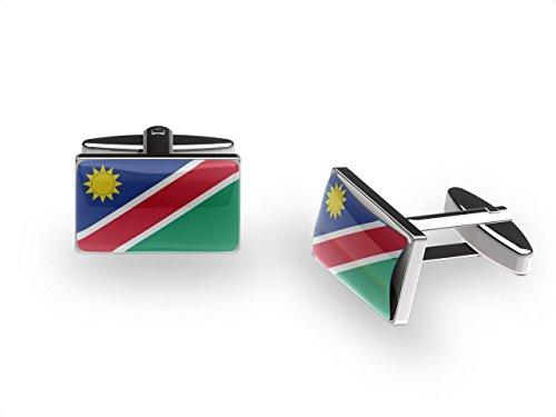 (Sun Namibian Boutons de manchette drapeau de la Namibie Boutons de manchette avec coffret cadeau