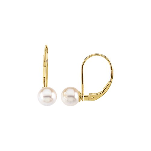 Akoya Cultured Round Pearl 0.24-inch Earrings in 14k Polished Yellow Gold Lever - Brooch Akoya Pearl