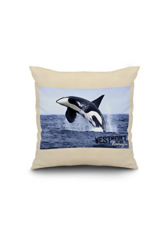 (Westport, Washington - Orca Jumping (16x16 Spun Polyester Pillow, White Border))