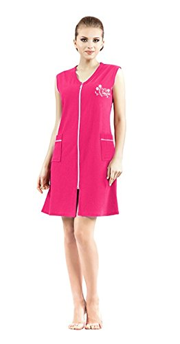 Brighton Robes Women's Turkish Terry Cotton Zipper Front Sleeveless Two Pocket Robe Sleepwear Beach Dress (XL, Pink)