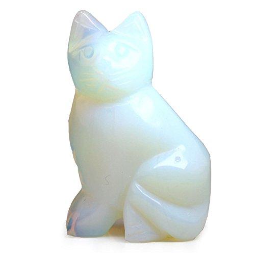 Hand Carved Fluorite Gemstone Cat Figurine Statue Stone Carving 1.6
