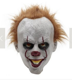 Tebatu Halloween Pennywise Costume Scary Clown Mask,Cosplay Prop Children Toy Trick ()