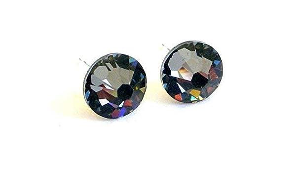 59e18cea7 Amazon.com: Crystal Silver Night Swarovski stud earrings, 7mm diameter (1/4  inch) grey posts: Handmade