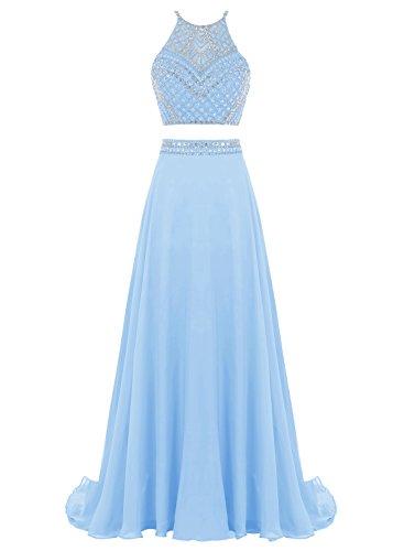 Bbonlinedress Mujer Vestido Dos Piezas Halter Gasa Con Cuentas Para Fiesta Ceremonia Azul