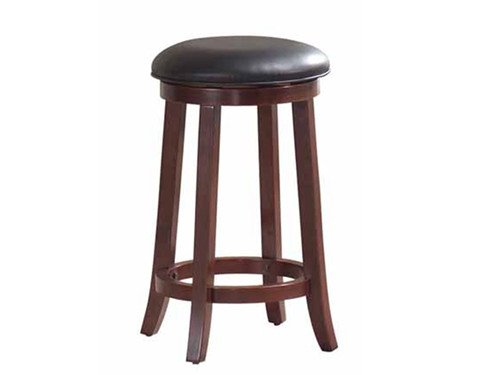 Brand New Set of 2 Cherry Finish Wood 24''h Swivel Stool with 15'' Dia. Pu Seat Cushion by Click 2 Go