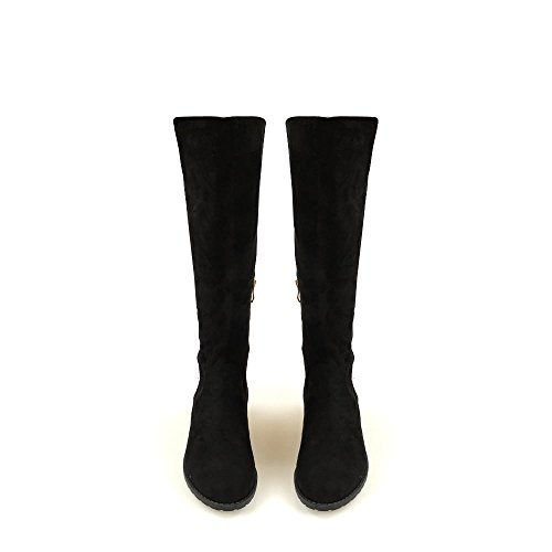 Sonia Ladies Women Low Block With Gold Trim Heel Stretch Back Knee Length Boot BLACK SUEDETTE 5QnePEfI