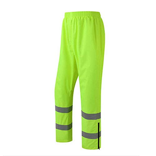 SYDDP Reflective Rain Pants Traffic Sanitation Garden Safety Waterproof Overalls Outdoor Riding Fluorescent Yellow Rain Pants Reflective Vests (Size : L) ()