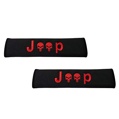 Comfortt 2pcs Jeep Red Stitching The Punisher Skull Skeleton Seat Belt Shoulder Pads Cover Strap Cushion Compatible Fit for Jeep Grand Cherokee Wrangler Renegade Compass