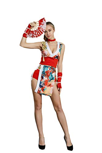ORIENTAL RAYS Women's Kimono Costume with Folding Hand Fan Japanese Geisha Ninja Assassin (M, Red White(Flower Pattern))