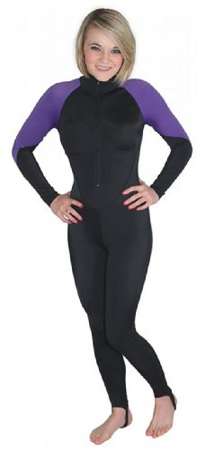 Storm Black/Purple Lycra Dive Skin for Scuba Diving, Snorkeling and Water Sports - Large