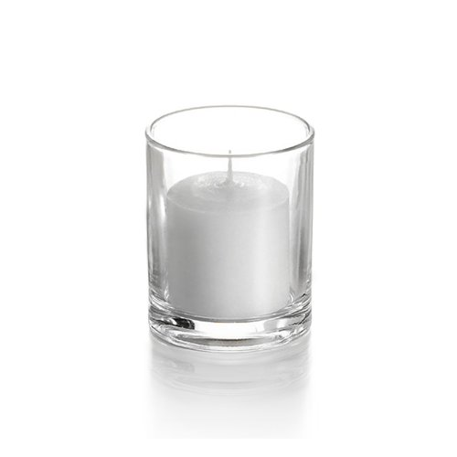 Yummi Set of 72 10hr Votive Candles & Votive Holders, Clear