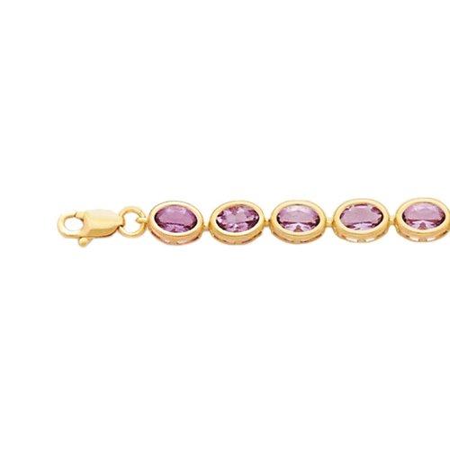 14K Yellow Gold Oval Shaped Amethyst Bracelet