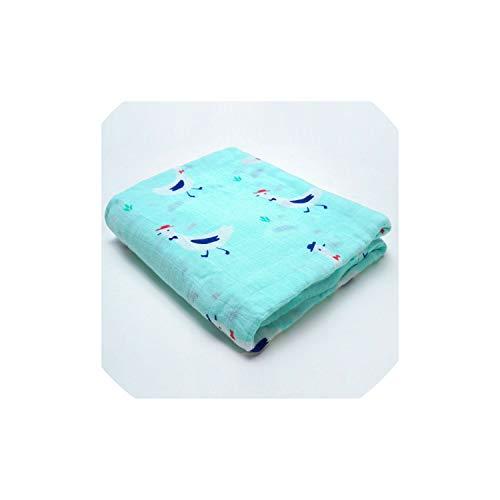 2019 Newborn Muslin Blanket Swaddle Bamboo Cotton,Soft Baby Bath Towel,Duck Blue