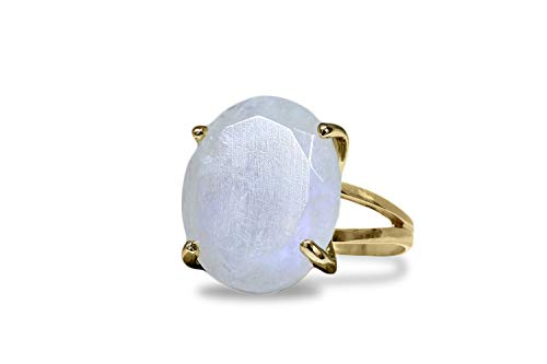 Anemone Jewelry 14K Gold Filled Ring - Stunning 20mm/16mm Oval-Shaped Moonstone Ring Handcrafted To Boost Feminine Energy - With Free Gift Ring Box [Handmade]