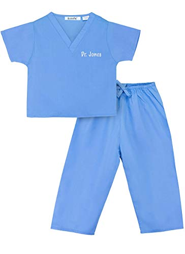 Scoots - Personalized Kids Scrubs, Customized with Your Child's Name, Size 4T, Blue