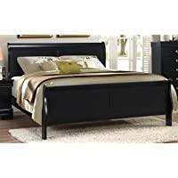 ADI #1057B Traditional Louis Philippe Style Eastern King Sleigh Panel Bed in Black Finish