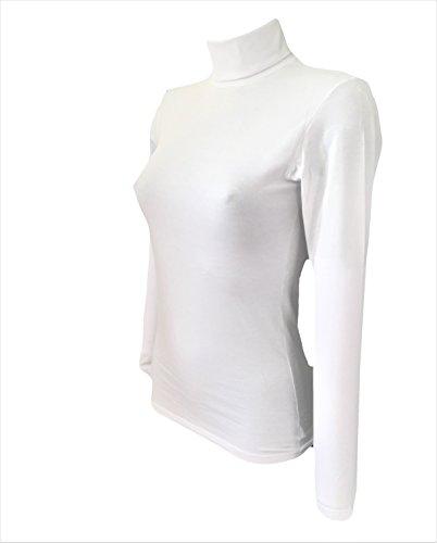 4267 donna Bianco elasticizzato cotone dolcevita JADEA art a4wwzn