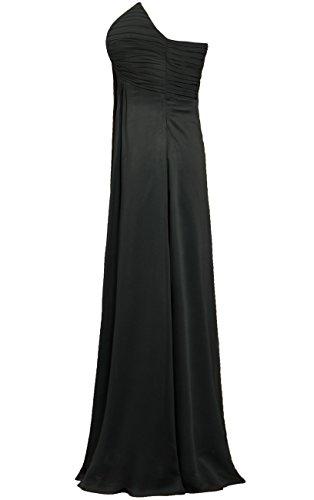 Robes De Demoiselle D'honneur En Mousseline De Soie Sans Bretelles Plissées De Fourmis Femmes Longues Robes Noires
