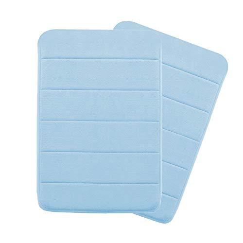 Sky Blue Rug - Memory Foam Super Soft Microfiber Bath Mat Set Floor Rugs Machine Washable Bath Rugs Set for Bathroom/Kitchen Dry Fast Water Absorbent Rugs, Sky Blue (Pack 2-17