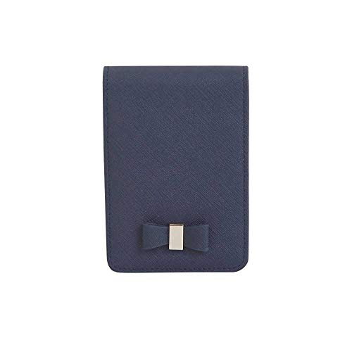 (Genuine Leather Cigarette & Lighter Case Cosmetic Pouch with Mirror Navy)