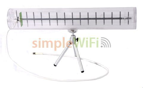 Yagi WiFi Antenna: Clear, Indoor, 14dBi, 2.4GHz, Directional, 802.11n, 802.11g, 802.11b, Long Range WiFi Signal Booster / Extender w/ Aluminum Elements, RP-SMA Male Connector. Yagi Cantenna