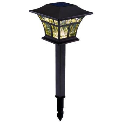 Outdoor Solar Powered Landscape LED Mediterranean Bronze Mission Path Light (4-pack)