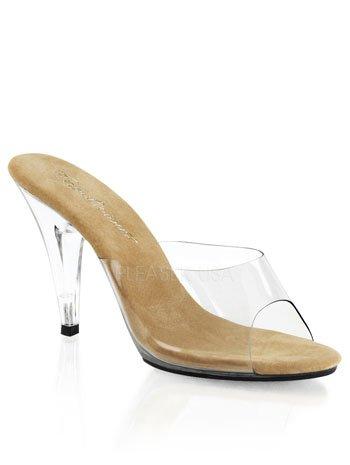 Pleaser Women's Car401/ct/c Platform Sandal, Tan/Clr, 9 M US