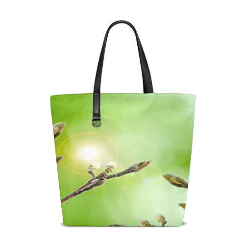 NQEONR Women Easter Willow Flower Branch Border Season Soft Handle Satchel Handbags Shoulder Bag Tote Purse Messenger Bags