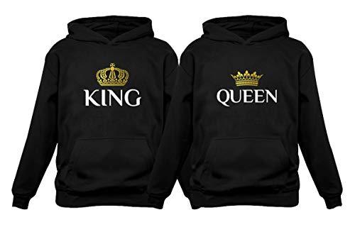 643d80ca99 Tstars King & Queen Matching Couple Hoodie Set His & Hers Hoodiess Men Black  Large/
