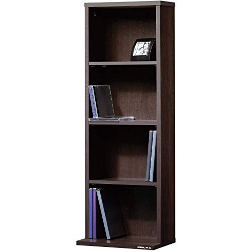 Selva 3 Tiers Adjustable Shelves Multimedia Book Storage Tower | Bookcase Bookshelf DVDs CDs Case | for Home Office Library Study Room Education | Stylish Modern with Enclosed Back Panel Rack Media