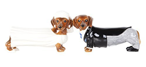 (Pacific Giftware Lovely Wedding Bride and Groom Doxies Salt and Pepper Shaker Set Cute Dachshund Wiener Dog Tabletop Decoration SP Set)