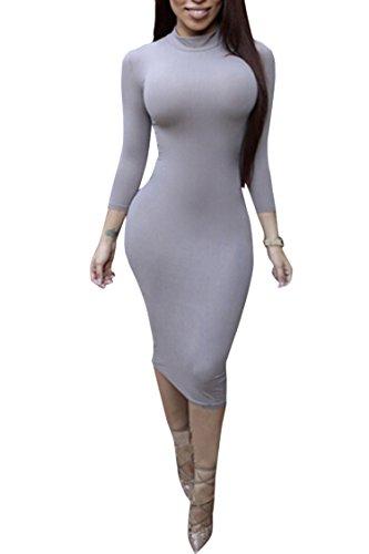 Pink Queen Womens Turtleneck Long Sleeve Knee Length Bodycon Midi Dress XXL Grey