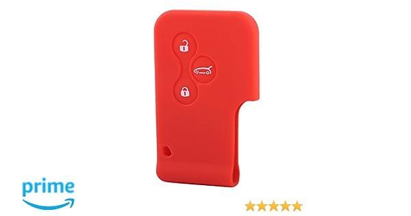 beler 3 botones tarjeta de silicona remota Funda clave Fob cubierta para Renault Clio Megane Scenic Red