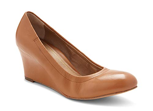 Tan Wedge Heels Shoes Leather (Vionic Women's Lux Camden Wedge Heels – Ladies Dress Shoes with Concealed Orthotic Support - Tan Leather 11M)