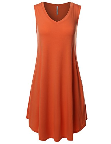 Awesome21 Solid V-Neck Sleeveless Round Hem Dress With Side Pocket Copper Size 3XL