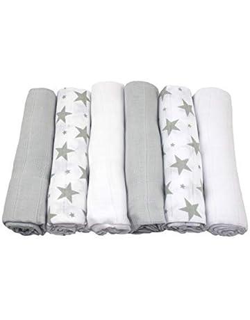 MuslinZ: 6 paños de muselina para bebé, cuadrados, diseño de estrellas, 100