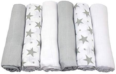 MuslinZ: 6 paños de muselina para bebé, cuadrados, diseño de estrellas, 100% algodón, 70 x 70 cm: Amazon.es: Bebé