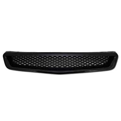 Black Mesh ABS Front Hood Grille Grill 1999-2000 Honda Civic JDM Type R