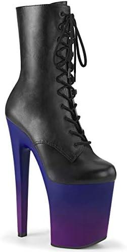 Pleaser Damen XTREME-1020BP Plateau High Heels Stiefelette Lederimitat Blau/Lila 39 EU