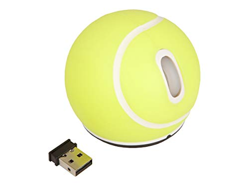 Urban Factory Tennis Ball Form Wireless Optical Mouse 2 Buttons 2.4 GHz, Yellow (SBA01UF)